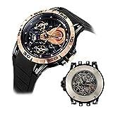 Huboler Skeleton Mechanical Men's Watch Tourbillon Automatic Movement Luminous