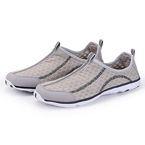 KALEIDO Damen Atmungsaktive Mesh Slip On Walking Casual Wasserschuhe Grey2
