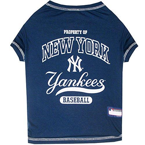 (Pets First New York Yankees T-Shirt, Medium, Blue)