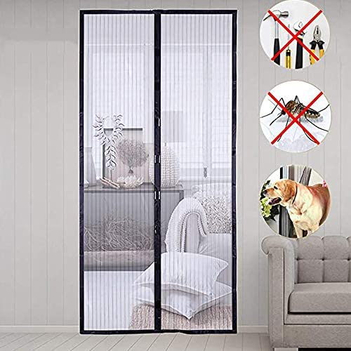 NEWMAKES 簡易あみ戸カーテン マグネット式網戸カーテン 、防虫スクリーン用のトップダウンシール、磁石付きの自動防虫スクリーン (Color : Black, Size : 90x205CM)