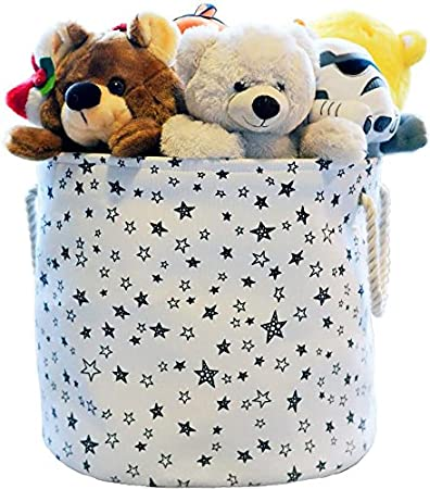 Superbe Large Eco Friendly Canvas Toy Storage Baskets Storage Bins Nursery Bins  With Handles (White