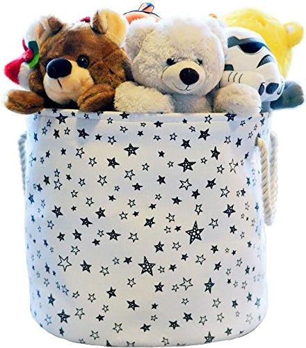 Large Eco-Friendly Canvas Toy Storage Baskets Storage Bins Nursery Bins with Handles (White with Navy Blue Stars), 17