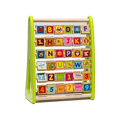 Wooden Alphabet Abacus Activity Center For Toddlers & Kids 1-5 Years –Educational Playing Station For Learning Letters, Numbers, Colors & Small Words –Made Of Non-Toxic Wood W/ Water-Based Colors: Toys & Games
