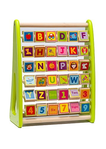 Wooden Alphabet Abacus Activity Center For Toddlers & Kids 1-5 Years –Educational Playing Station For Learning Letters, Numbers, Colors & Small Words –Made Of Non-Toxic Wood W/ Water-Based (2 Activity Center)