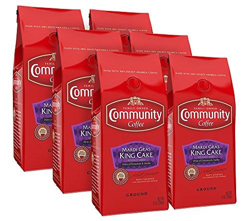Community Coffee Premium Ground Coffee, Mardi Gras King Cake, 12 oz. (Pack of 6) ()