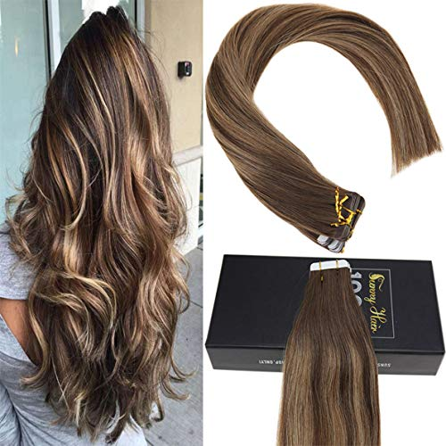 Sunny 24inch Remy Human Hair Balayage Tape in Extensions #4 Dark Brown Fading to #27 Caramel Blonde with #4 Colored Pastel Hair Extensions Double Sided Tape Ins 50g/20pcs (Dark Brown Hair To Caramel Colored Hair)