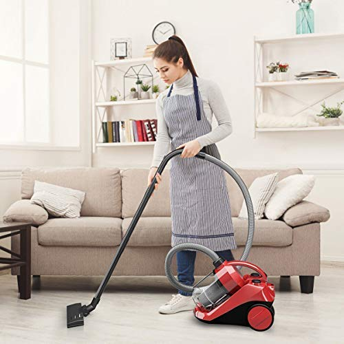 COSTWAY Bagless Canister Vacuum Rewind Corded Carpet Hard Floor Cyclonic Adjustable Vacuum Cleaner with Washable Filter (14'' X 10'' X 11'')