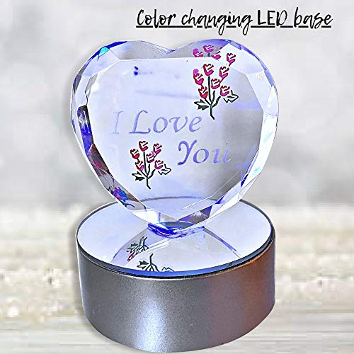 52842a4835f4 BANBERRY DESIGNS I Love You Gift - Etched Glass Heart on LED Base - LED  Light