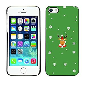 Caucho caso de Shell duro de la cubierta de accesorios de protección BY RAYDREAMMM - Apple iPhone 5 / 5S - Rein Deer Winter Horns Christmas Snow Flakes
