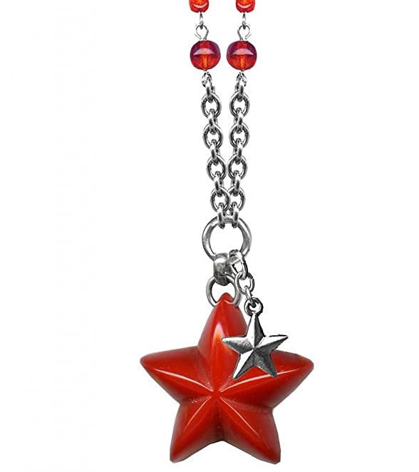 1950s Costume Jewelry Womens Classic Hardware Double Star Retrolite Necklace With Red Glass Beads $50.00 AT vintagedancer.com