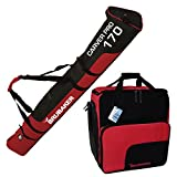 BRUBAKER 'Superfunction Combo Ski Boot Bag and Ski Bag for 1 Pair of Ski up to 170 cm, Poles, Boots and Helmet - Black Red