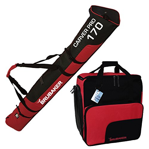 """BRUBAKER """"Superfunction Combo Ski Boot Bag and Ski Bag for 1 Pair of Ski up to 170 cm, Poles, Boots and Helmet - Black Red"""