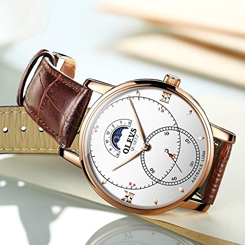 Rose Gold Watches for Men,Brown Leather Watch Men Business Casual Wrist Watch,Fashion Japan Quartz Movement Watch with White Face,Men's 30m Waterproof Wrist Watches,Round White Dial by OLEVS (Image #3)