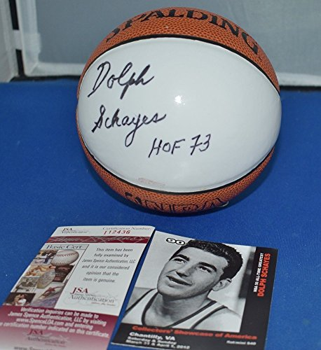 Dolph Schayes Signed Spalding NBA Mini Basketball Syracuse Nationals Hof 73 - JSA Authentic