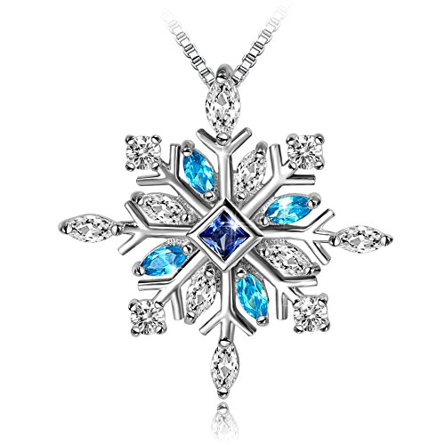 Long Way SNE170127 925 Sterling Silver Snowflake Pendant Necklace with Blue CZ Long Way Fine Jewelry for Women Christmas Gift