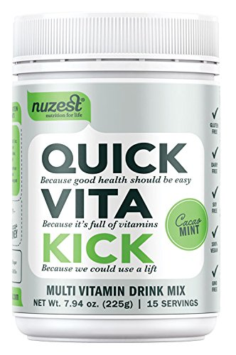 Nuzest Quick Vita Kick - Vitamin and Superfood Shake, Vegan, B12, Plant-based, Natural Energy Booster, Cacao Mint, 15 servings, 7.9 oz
