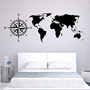 Amazon.com: Yanqiao World Map Wall Stickers PVC Removable ...