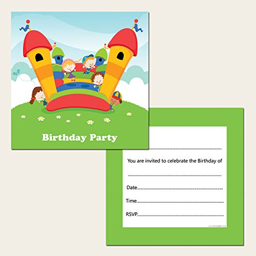 Kids Birthday Invitations Bouncy Castle Party Pack of 10 – Bouncy Castle Party Invitations