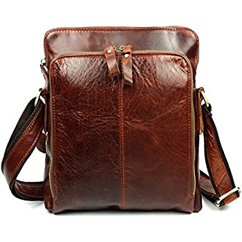 Amazon.com: Brown Cowihde Leather Messenger Bag Casual Shoulder ...