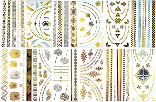 BohoTats Tattoos - Set 3 of 12 Sheets - Over 100+ Intricate Designs - Stunning Flash Metallic Boho Tattoos - Non Toxic - Quality Guarantee - Temporary Metallic Tattoos from BohoTats