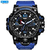 SMAEL Men's Sports Analog Digtal Wrist Watch Dual Quartz Movement Military Time Water Resistant with Backlight (Blue Belt-Black)