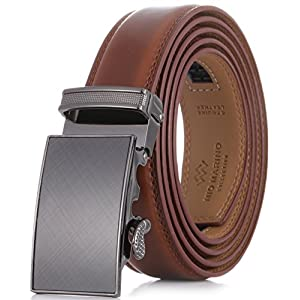 Marino Men's Genuine Leather Ratchet Dress Belt With Automatic Buckle, Enclosed in an Elegant Gift Box - Burnt Umber - Fits waist sizes up to 44""