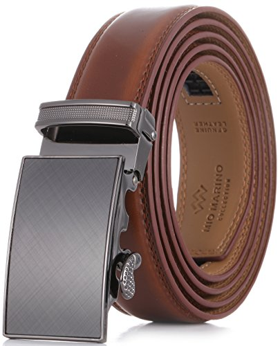 Marino Men's Genuine Leather Ratchet Dress Belt With Automatic Buckle, Enclosed in an Elegant Gift Box - Burnt Umber - Adjustable from 28
