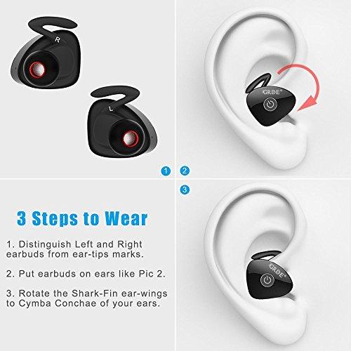 Amazon.com: GRDE Bluetooth Earbuds, True Wireless Stereo Earphones Noise Isolation Mini Sweatproof Sports Headphones with Mic Dual in-Ear Buds Headset ...