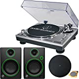Audio-Technica AT-LP120-USB Direct-Drive Professional Turntable in Silver w/ Mackie CR Series CR3 3' Creative Reference Multimedia Monitors (Pair)