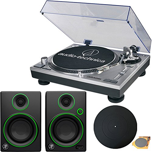 (Audio-Technica AT-LP120-USB Direct-Drive Professional Turntable in Silver w/ Mackie CR Series CR3 3