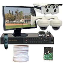 GW Security Inc 4CHH4 4 Channel HD-SDI High Definition DVR with 4 x 1/3 Inches 2.1 Megapixel 1080P Video Output Security Camera System, Free LED Monitor (White/Black)