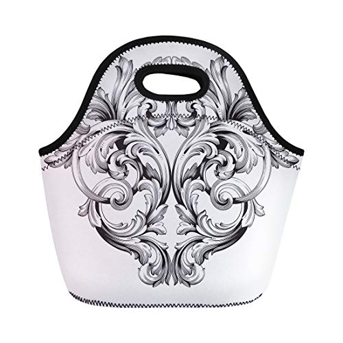 Semtomn Lunch Tote Bag Arabesque Baroque of Vintage Filigree You for Wedding Laser Reusable Neoprene Insulated Thermal Outdoor Picnic Lunchbox for Men Women