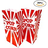 Movie Theater Popcorn Bags - 26 Pack Paper Popcorn Boxes Striped Red and White for Filmfest Party, Red/White Style,9.5 x 4.5 x 2.5 inches by WEEPA