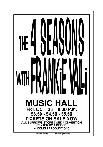 Raw Sugar Art Studio Frankie Valli and The Four Seasons 1970 Cleveland Concert Poster