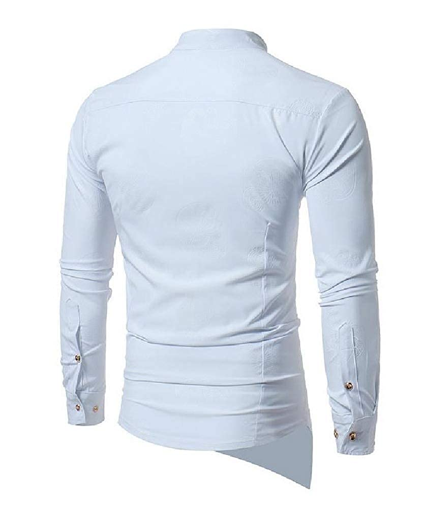 Comaba Mens Autumn Single Breasted Long-Sleeve No Iron Casual Shirts