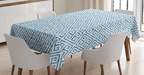 "Ambesonne Greek Key Tablecloth, Tile Mosaic Pattern in Blue and White with Antique Meander and Camo Effect, Dining Room Kitchen Rectangular Table Cover, 52"" X 70"", Baby Blue"