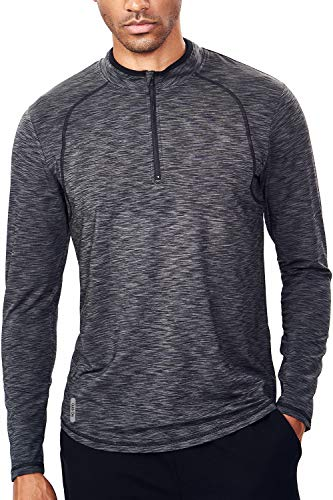 Tech Quarter Zip Pullover Running Shirt Men Dry Fit Zip T Shirt(L, Black & Grey)