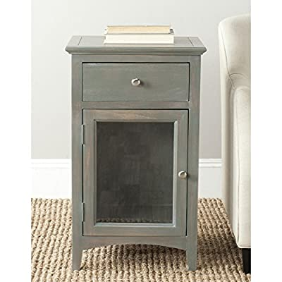 Safavieh American Homes Collection Ziva French Grey End Table - The ash grey finish of this end table will create a perfect accent to your home Crafted of sturdy elm wood Perfect for living room, family room, den, library, or study; Always use felt pads under all articles to prevent discoloration or softening of lacquer - living-room-furniture, living-room, end-tables - 51C0c%2BQ3qnL. SS400  -