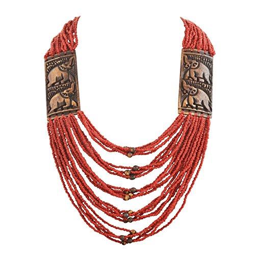 Zephyrr Fashion Junk Tibetan Handmade Beaded Multi Strand Necklace for Women ()