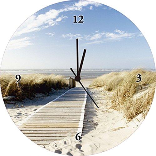 Artland Qualitätsuhren I Funk Wanduhr Designer Uhr Glas Funkuhr Größe: 35 Ø Strand Creme H8FB