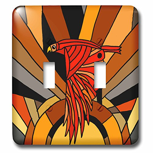 Art Deco Flight Clock (All Smiles Art Birds - Fun Artistic Colorful Retro Hawk in Flight Art Deco - Light Switch Covers - double toggle switch (lsp_251940_2))