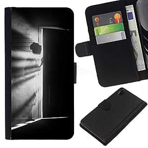 All Phone Most Case / Oferta Especial Cáscara Funda de cuero Monedero Cubierta de proteccion Caso / Wallet Case for Sony Xperia Z2 D6502 // Meaning Girl Black White Deep