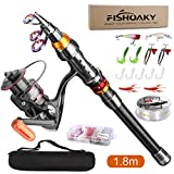 FISHOAKY Fishing Rod Set, Carbon Fiber Telescopic Spinning Fishing Pole and Reel Combo Fishing Gear with Line Lures Tackle Hooks Reel Carrier Bag for Travel Saltwater & Freshwater Kids & Adults