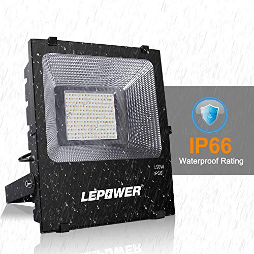 LEPOWER New Craft 2 Pack 150W LED Flood Light, 11000lm Super Bright Work Lights with Plug, 6500K White Light, IP66 Waterproof Outdoor Floodlights Fixtures for Garage, Playground, Basketball Court,Yard by LEPOWER (Image #3)