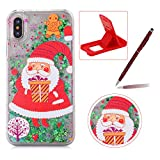 Liquid Case for iPhone X,Plastic Hard Cover for iPhone XS,Herzzer Luxury Deluxe [Colorful Christmas Series Pattern] Funny Dynamic Stars Floating Glitter Sparkle Transparent Protective Case For iPhone XS/iPhone X 5.8 inch + 1 x Free Red Cellphone Kickstand + 1 x Free Claret-Red Stylus Pen - Santa Claus