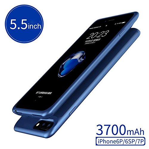iPhone6Plus 7Plus Battery Charger Case, 3700mah Ultra Slim Extended Backup Battery Power Bank Charger with Lightning Cable Charged for iPhone6Plus/6s Plus/7Plus (5.5in)[Blue] Apatner