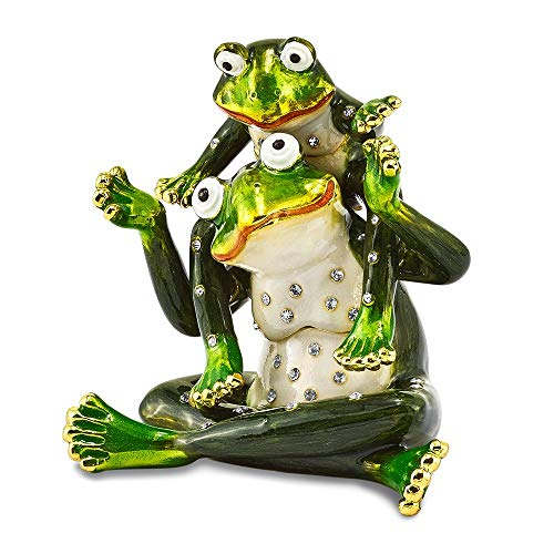 Jere Luxury Giftware Bejeweled Mama & Tad Frog Mother and Child, Pewter with Enamel Collectible Trinket Box with Matching Pendant - Bejeweled Frog