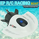 POTO RC Toys Mini Submarine Toy 4CH High Powered Speed Remote Control Boats 2.4G Plastic Tourist Submarine Model Outdoor Toys (White)