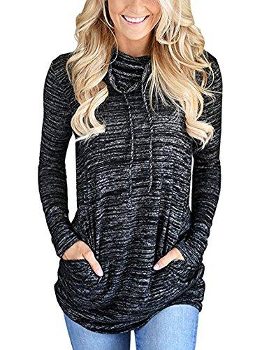 Cotton Shirt Blouse (GUOYUJIANYI Women's Long Sleeve Casual Shirts Cowl Neck Sweatshirt Cotton Loose Tunics Blouse Tops Small Black)