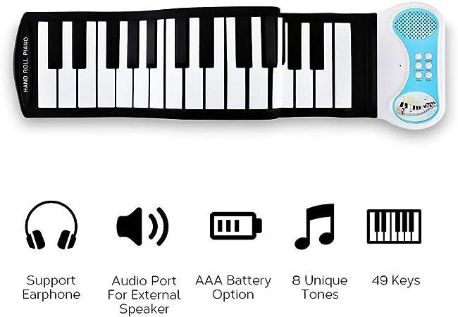 XIPI Roll Up Piano con Partituras 49 Teclas EstáNdar, Juguete ...